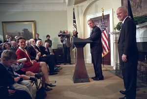 President George W. Bush names Jim Towey as the Director of the Faith-Based & Community Initiatives on Feb 1, 2002. White House photo by Eric Draper.
